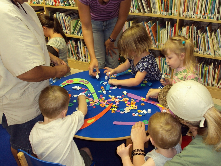 Children Doing Activity in Library